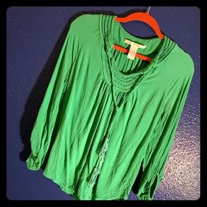 DVF jade green boho top